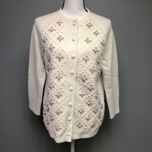 VTG 60s Fashionelle 3D Rose Knit Acrylic Cardigan